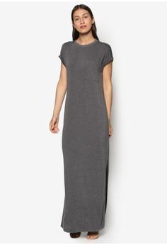 Basics Rolled Up Sleeves Maxi Dress