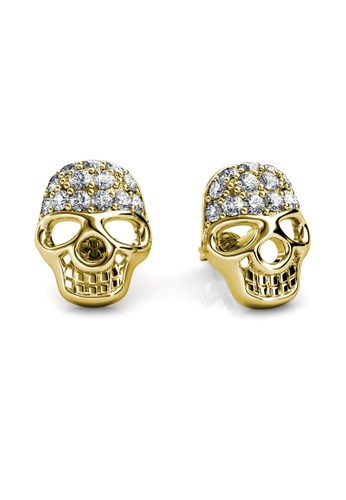 Her Jewellery brown Skull Earrings (Yellow Gold) - Made with premium grade crystals from Austria HE210AC0FI4JSG_1