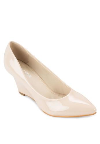 漆面尖頭楔形鞋,zalora時尚購物網評價 女鞋, 鞋
