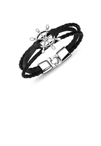 Glamorousky silver Fashion Personality Anchor Multi-layer Black Leather Bracelet 7D4E4AC3420EC6GS_1