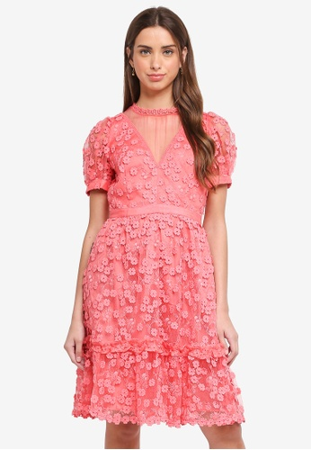 French Connection pink and multi Caballo Lace High Neck Dress 3D5A1AAD58E19BGS_1
