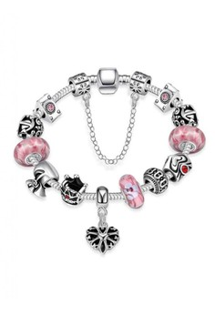 PDRH012 Morano Pink Glass Lucky Beads DIY Bracele with heart pandant(Silver Pleated)