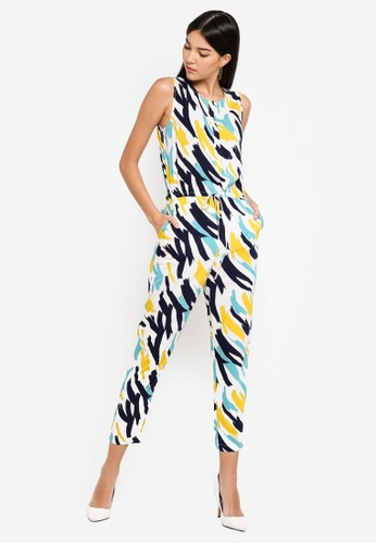 ZALORA white and multi Button Down Jumpsuit 07D26AA6F070C7GS_1