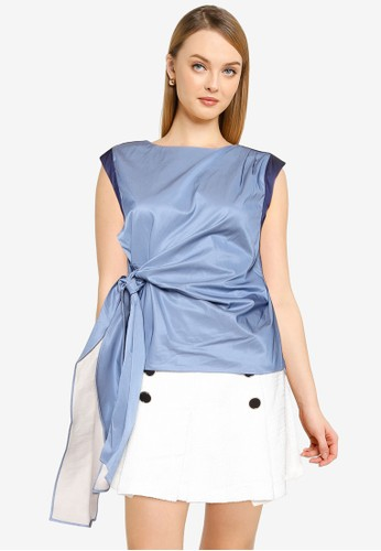 Saturday Club blue Color Block Top With Tied Detail 7D31DAAF54BF19GS_1