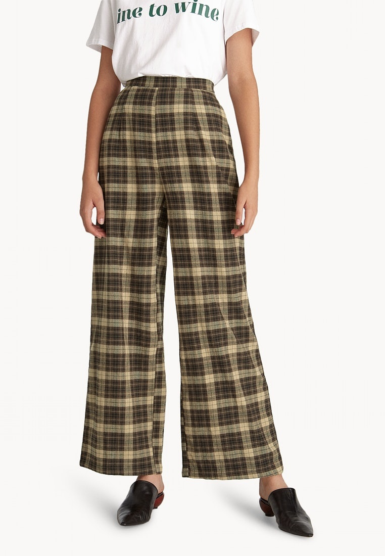 Brown Tartan High Leg Wide Waisted Pomelo Pants Brown a48q6Y
