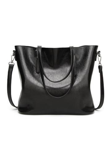 Lara black Retro Shopper Bag - Black 390EAAC7DA66B6GS_1