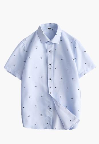 Trendyshop blue Slim Casual Short Sleeves Shirt 84364AA189DB0BGS_1