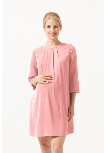 6ec595ede7101f Bove by Spring Maternity pink Woven Three Quarter Sleeve Elly Nursing Dress  Coral Blush 3BAFEAA946A79FGS 1