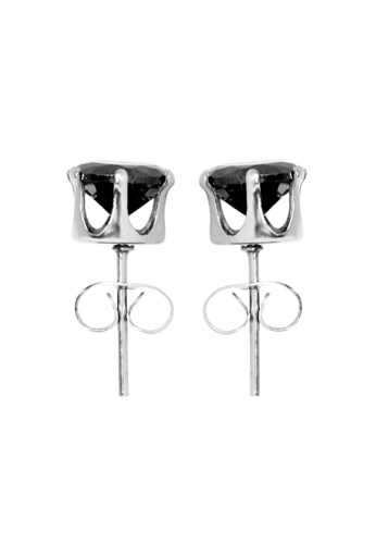 Elfi black Elfi Stainless Steel Black 6-Prong Stud Earrings EL186AC0SY1BMY_1