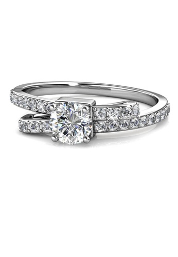 Her Jewellery silver Crystaline Bow Ring (White Gold) - Made with premium grade crystals from Austria E57DCAC179F91FGS_1
