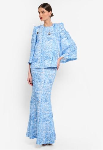 Rizalman for Zalora white and blue Kedah Pocket Kurung RI909AA0SF1EMY_1