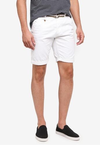 Indicode Jeans 白色 Royce Shorts With Belt 62ADFAAFBB55B0GS_1
