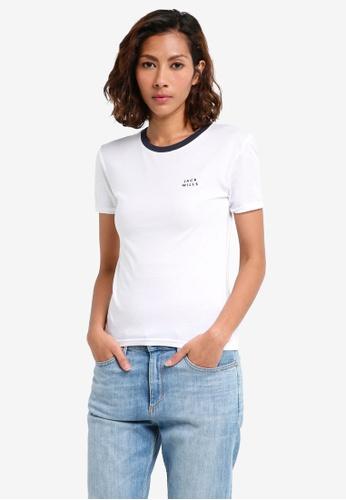 Jack Wills white Trinkey Ringer T-shirt 8560DAA933722EGS_1