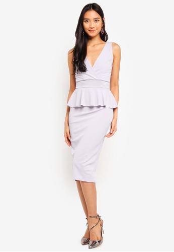 WALG grey Peplum V-Neck Midi Dress 01F87AAD531C76GS_1