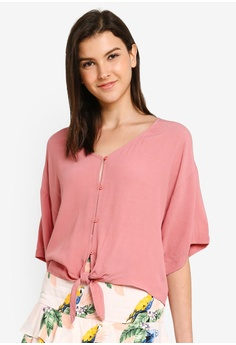 8b5e3bd3234 FOREVER 21 pink Tie Front Button Down Top C16ABAA6209152GS_1