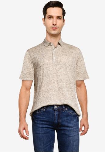 MANGO Man beige Linen Polo Shirt 925CEAA6161652GS_1