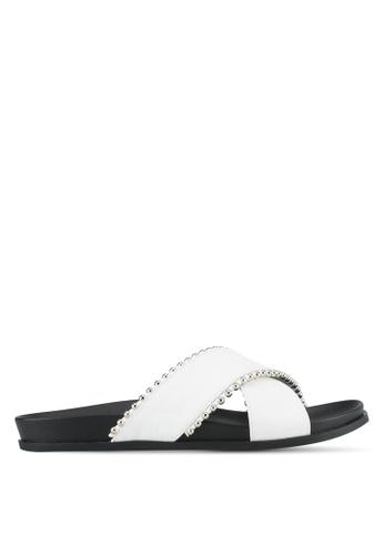Something Borrowed white Crossover Footbed Sandals 9EDF3SHC08C354GS_1