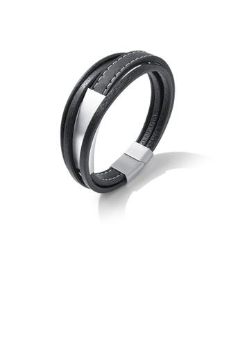 Glamorousky silver Fashion Simple Geometric Rectangular 316L Stainless Steel Multi-layer Leather Bracelet 82FC7AC640BB55GS_1