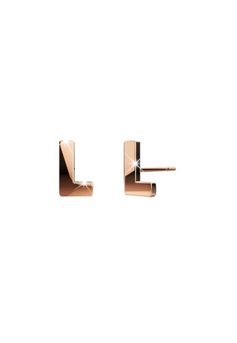Bullion Gold gold BULLION GOLD Dainty Alphabet Letter Earring Rose Gold Layered Steel Jewellery - L 685C7AC24B8C4DGS_1