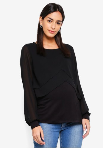 Mama.licious black Maternity Suzie June Mix Top F7F98AA238CCF7GS_1
