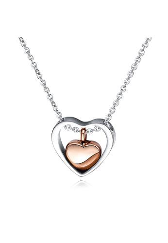YOUNIQ silver YOUNIQ CLOE Heart 18K Rosegold Content Titanium Steel Necklace with Detachable Heart Case ABE9BAC416F08EGS_1