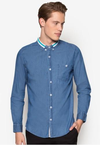 條紋領丹寧長袖襯衫, esprit專櫃服飾, 襯衫