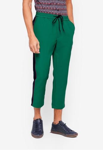 Topman 綠色 條紋滾邊抽繩褲 A1221AA3898EAEGS_1