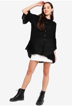 95034a593e4 30% OFF Something Borrowed Ruffles Hem Flowy Shirt HK  249.00 NOW HK   173.90 Sizes XS S M L XL