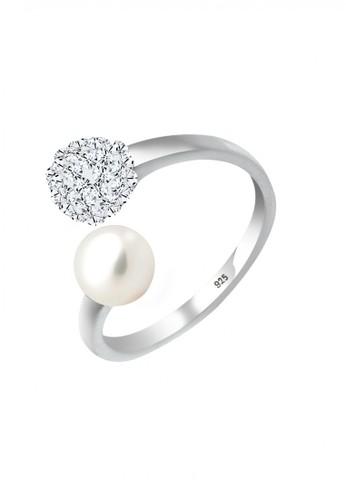 Elli Germany white Perhiasan Wanita Perak Asli - Silver Cincin Statement Crystal Mutiara AE3EDAC7F25F45GS_1