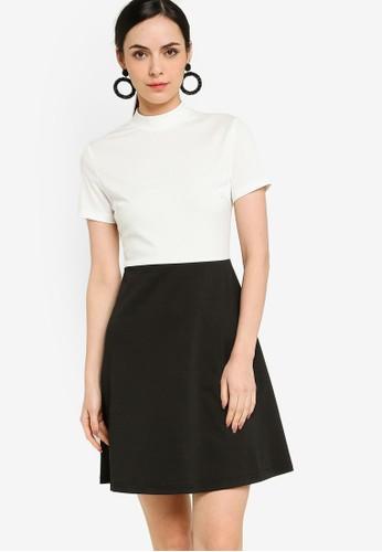 ZALORA WORK multi High Collar Colourblock Dress C1073AA42D2466GS_1