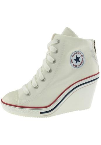 Maxstar 白色 新款韩国鞋775-BZ時尚帆布布混合女白色 US Women Size MA345SH86HBLTW_1