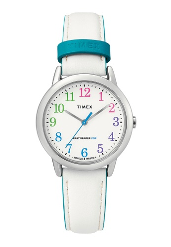 Timex white and blue and silver Timex Easy Reader Color Pop 30mm - Silver-Tone Case, White Strap (TW2T28800) 39876ACCCA2267GS_1