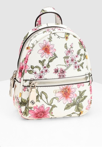 1f2df01e5a5d Guess white and multi Floral Mini Backpack 65B86AC95E2EF4GS 1