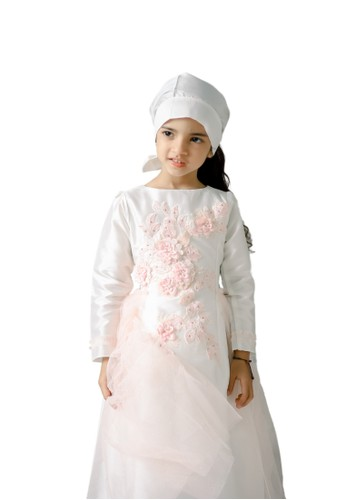Pretty Girl Collection white and pink Nuliza Gaun Muslim Anak 199ECKAB0DE7D9GS_1