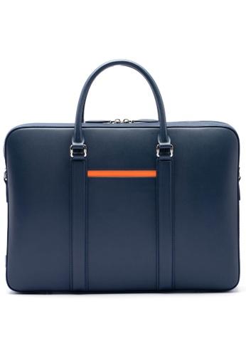 Maverick & Co. blue Maverick & Co. Manhattan Deluxe Leather Briefcase (Royal Navy) 30C75ACD0A2E4FGS_1
