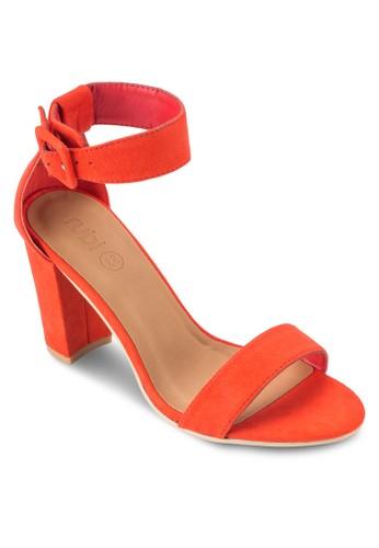 San Fran esprit分店扣環踝帶粗跟高跟涼鞋, 女鞋, 鞋