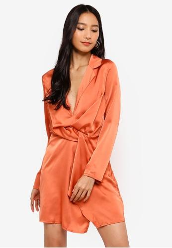 MISSGUIDED orange Slinky Plunge Wrap Shift Dress D013FAA5E7DC0BGS_1