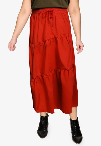 Violeta by MANGO red Plus Size Flared Long Skirt C211EAACD9A449GS_1