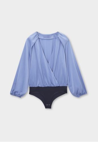 Pomelo blue Loose Puff Sleeve Bodysuit - Blue 82295AA2A018ECGS_1