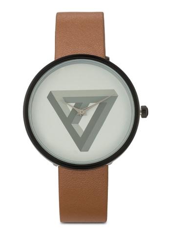 ZALORA white and brown Minimalist Prism Graphic Print Watch ANTFXAC0000014GS_1