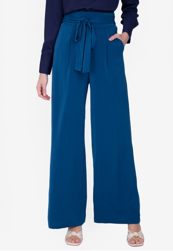 ZALORA WORK blue Tie Waist Flare Pants F9914AAC99672AGS_1