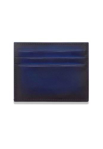 Crudo Leather Craft blue Sen'zaltro Credit Card Holder - Vintage Blue FCD29AC3A577B7GS_1