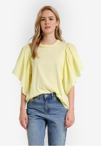 Mango yellow Ruffled Cotton Top MA193AA0RBVLMY_1
