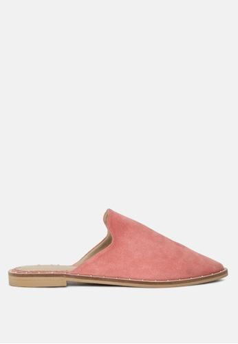 RAG & CO pink Fuchsia Suede Leather Mules 2DB13SH751DD23GS_1