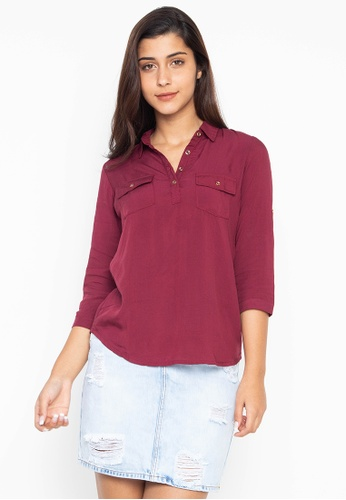 2b7478be Quarter Sleeves Collared Blouse With Chest Pocket