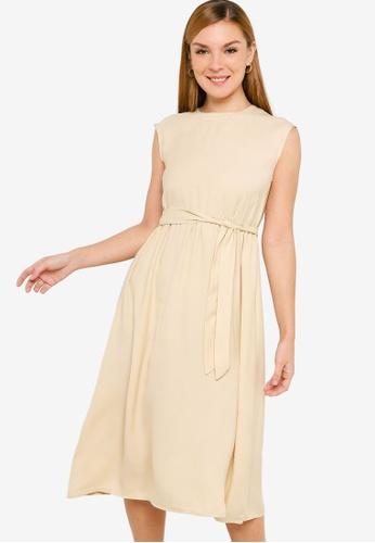 ZALORA BASICS beige Open Back Midi Dress B6210AA36A58F1GS_1