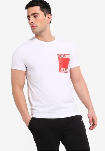 Calvin Klein 白色 修身T恤 5CB28AA7C06BF6GS_1