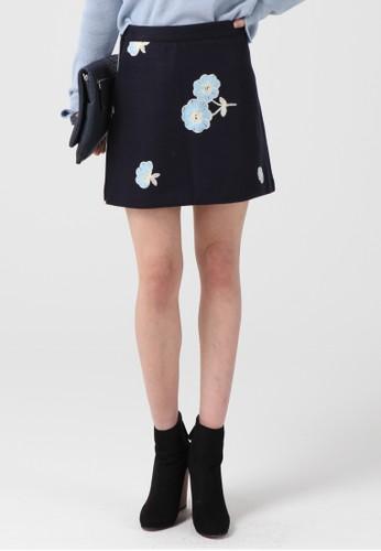 韓流時esprit手錶專櫃尚 花朵刺繡迷你裙 F4014, 服飾, 及膝裙