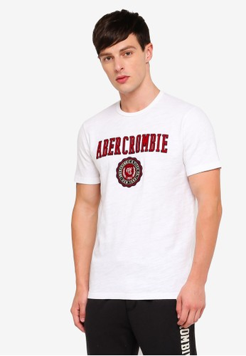 Abercrombie & Fitch white Brand Logo T-Shirt ABFEDAA4508F46GS_1