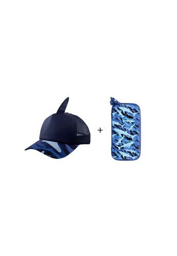 wigglo blue Wigglo Special Bundling Baseball Cap Shark & Hardtop Pencil Case Small Shark 94951KCE124661GS_1